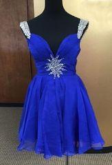 Mac Duggal 65353 Синее платье, лиф украшен тонкими цепочками из стразов