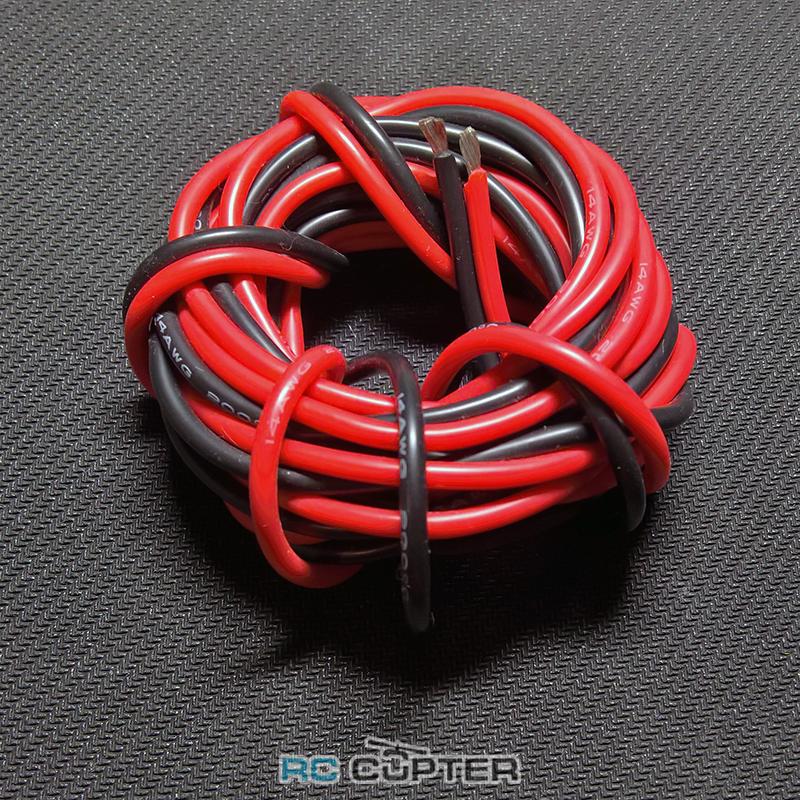 Медный провод 4AWG (1м красного + 1м чёрного) в силиконовой изоляции 2 метра