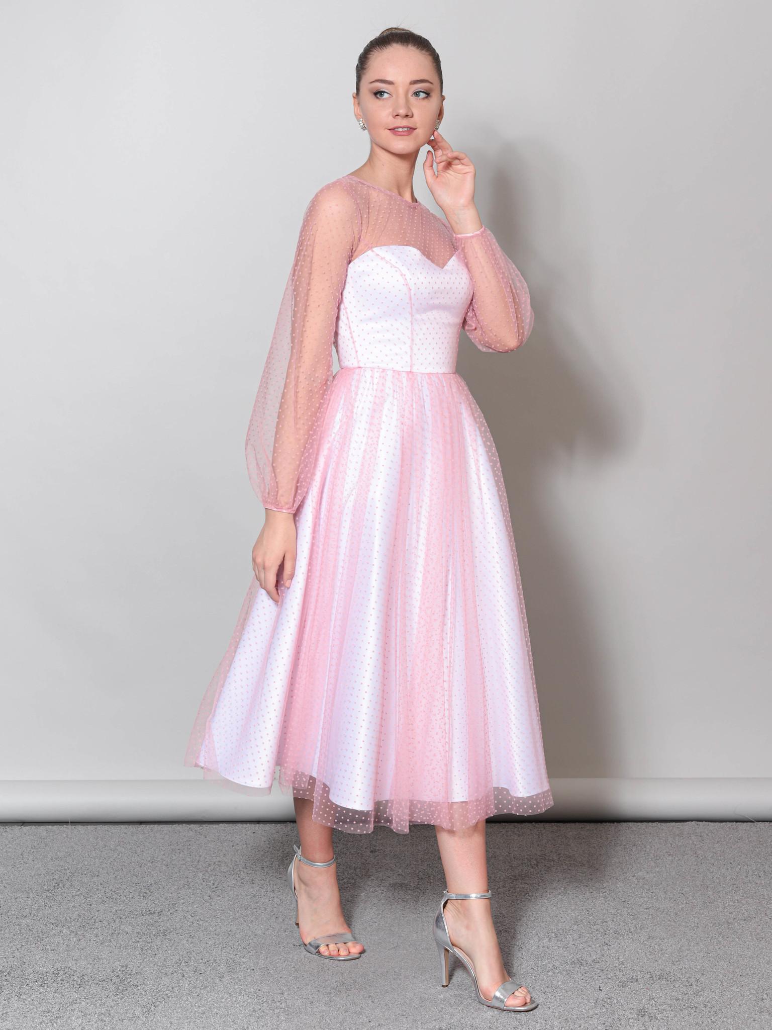 Свадебное платье с объемными рукавами из фатины (белый-розовый)
