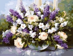 Алмазная Мозаика + Багет 40x50 Бело-фиолетовый букет в прозрачной вазе