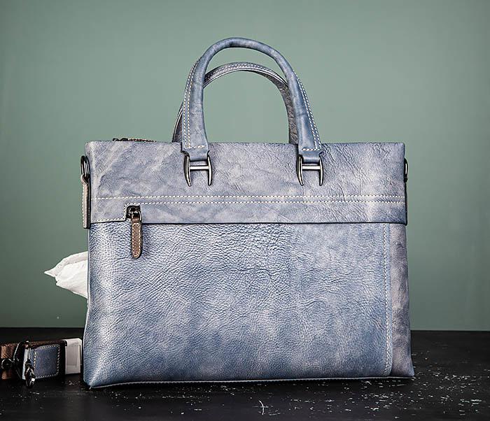 BAG497-3 Мужской портфель синего цвета из натуральной кожи