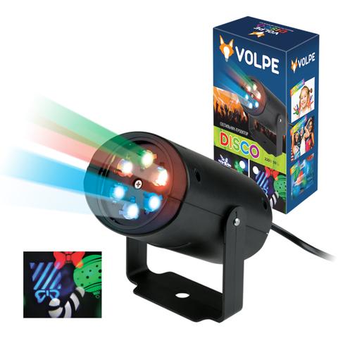 ULI-Q306 4W/RGB BLACK XMAS Светодиодный светильник-проектор. Проекция «рождество», RGB. Кабель с вилкой, 220В. TM Volpe.