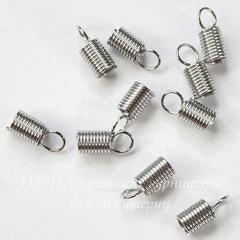 Пружинка для шнура 3 мм, 10х4,5 мм (цвет - платина), 10 штук