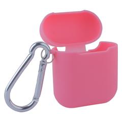 Чехол силиконовый COTEetCI (AP3) для AirPods с карабином (Розовый)