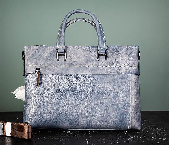 BAG497-3 Мужской портфель синего цвета из натуральной кожи фото 02