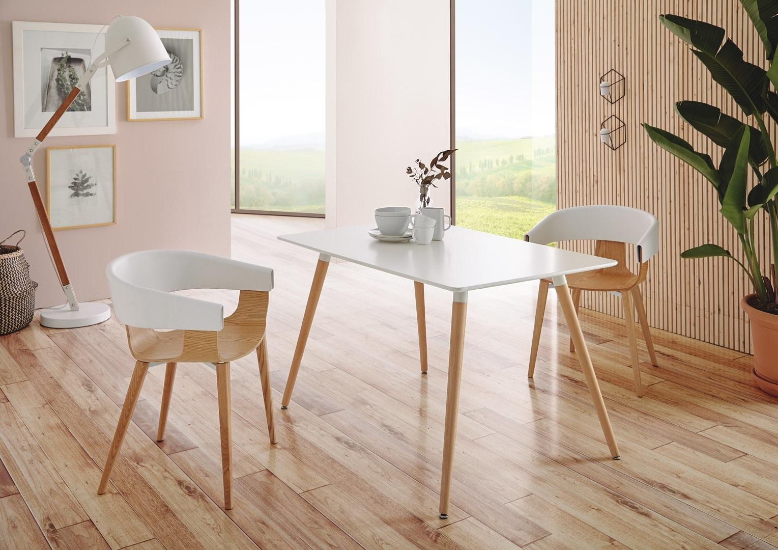 Обеденный стол DUPEN RT-903 Белый и стулья DUPEN PC-451