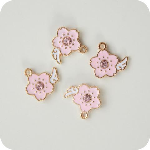Подвеска эмалевая 2см, цветок розовый
