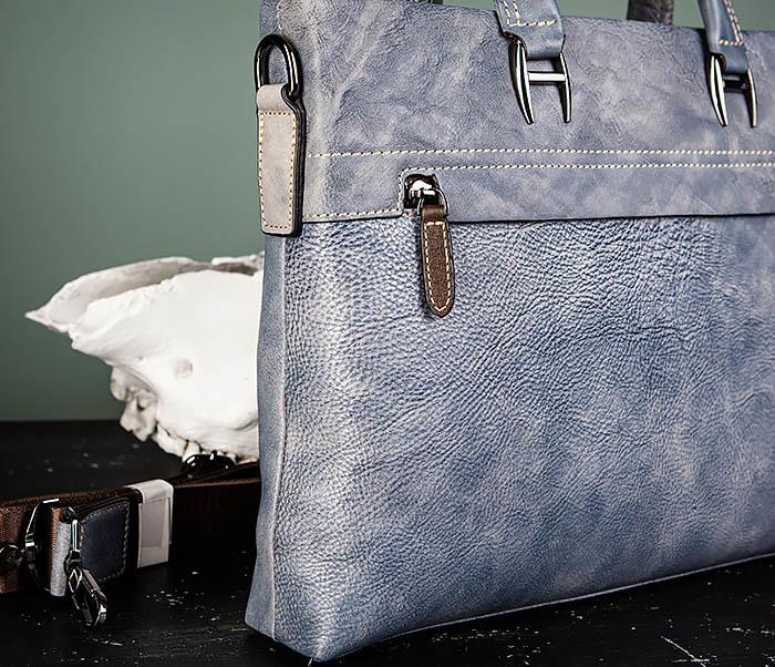 BAG497-3 Мужской портфель синего цвета из натуральной кожи фото 03