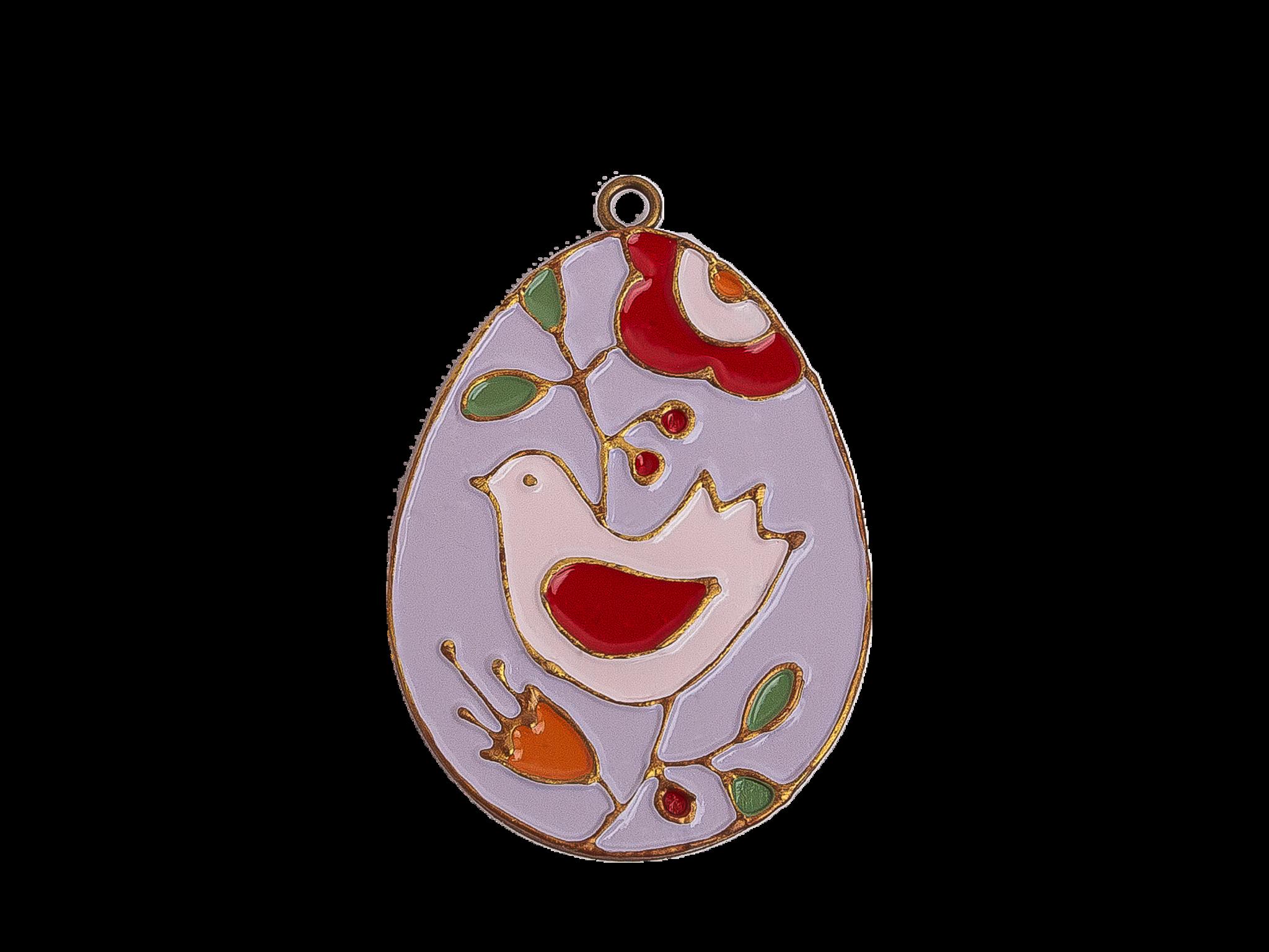 Пасхальное украшение Яйцо с Птицей, цвет: светло-лиловый