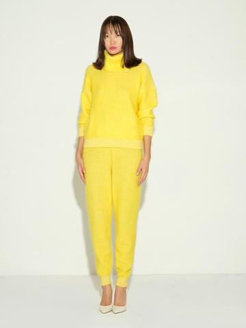 Женские брюки желтого цвета из мохера и кашемира - фото 2