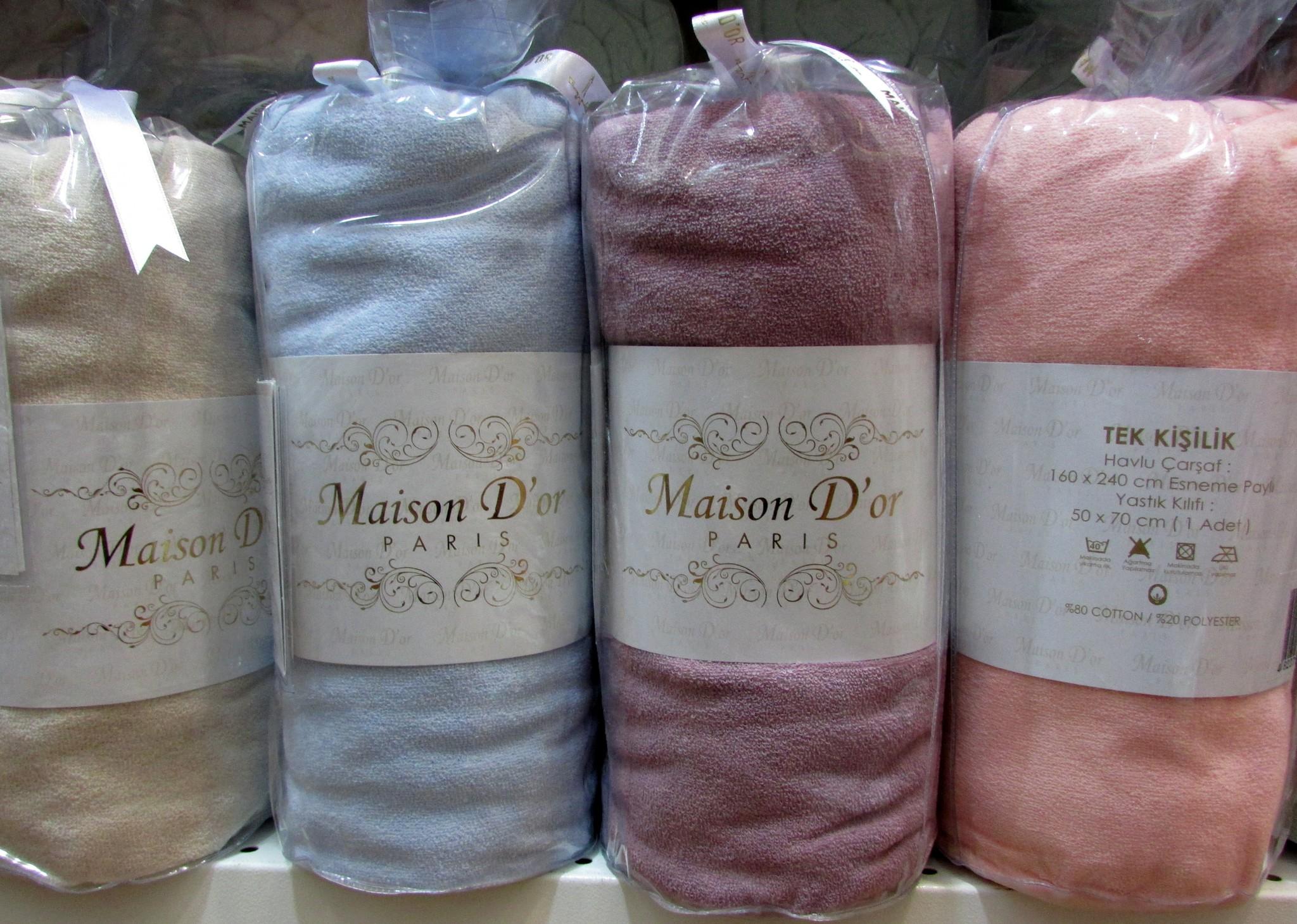 Простыни на резинке Простынь на резинке махровая с наволочками DUZ однотонная Maison Dor Турция 1_5_дуз.jpg