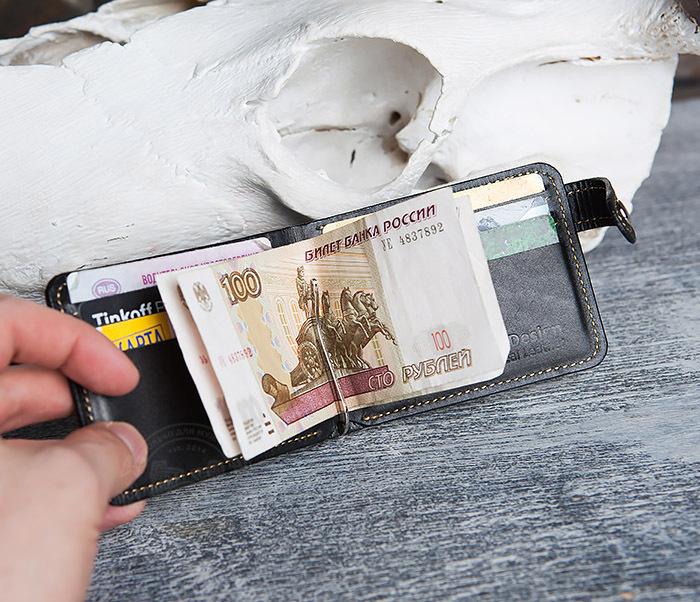 WB115-1 Кошелек из гладкой кожи на застежке с зажимом для денег. «Boroda Design» фото 09