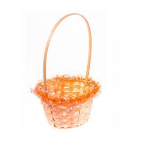Корзина плетеная с оборкой (бамбук), D15х9хH31см, оранжевый