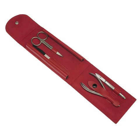 Маникюрный набор GD, 4 предмета, цвет красный, кожаный футляр