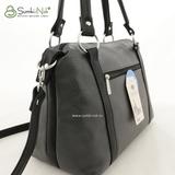 Сумка Саломея 486 серый + черный