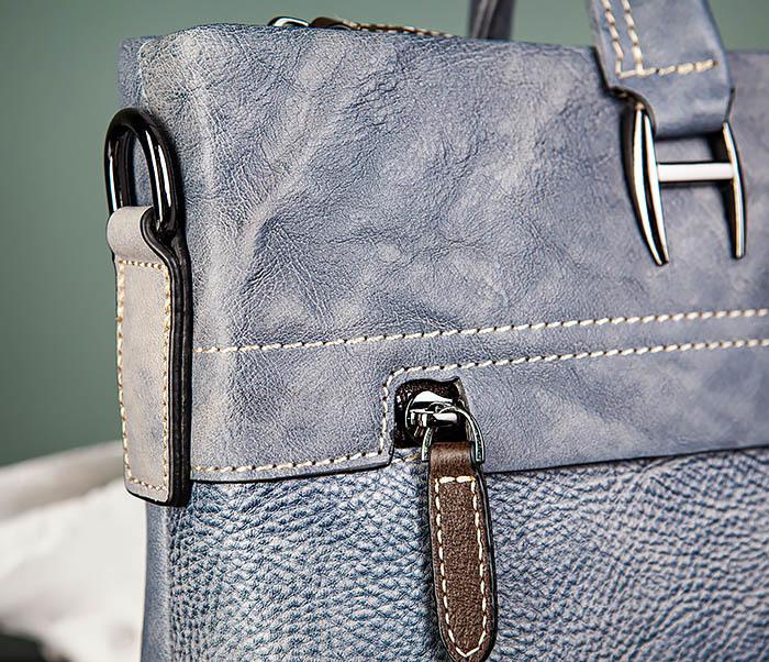 BAG497-3 Мужской портфель синего цвета из натуральной кожи фото 04