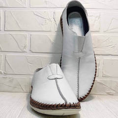Белые туфли слипоны мужские кожаные смарт кэжуал летние Luciano Bellini 91724-S-304 All White.