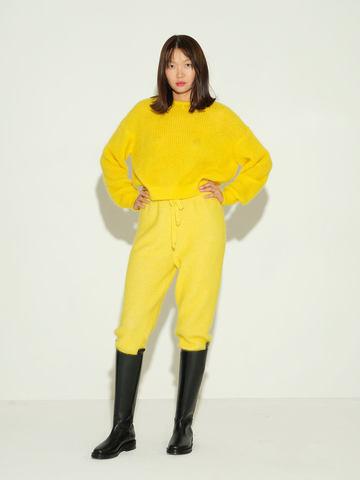 Женские брюки желтого цвета из мохера и кашемира - фото 3