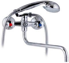 Смеситель для ванны и душа Kaiser (Кайзер) Luna 11080 Shar двухвентильный с лейкой и шлангом, настенное крепление, хром