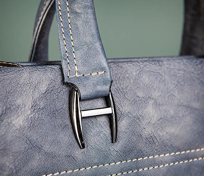 BAG497-3 Мужской портфель синего цвета из натуральной кожи фото 05