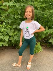 Кроп-топ ЛАВ зеленое сердце, цвет белый
