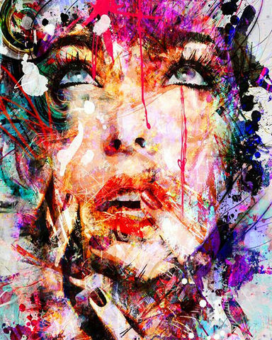 Алмазная Мозаика 40x50 Нарисованное лицо девушки