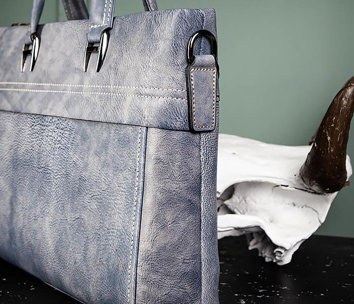 BAG497-3 Мужской портфель синего цвета из натуральной кожи фото 06