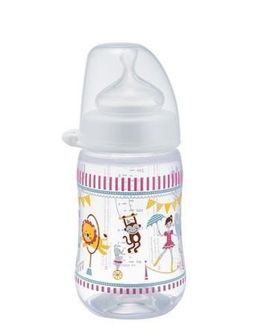 Бутылочка пластиковая с соской из силикона, 260 мл NIP
