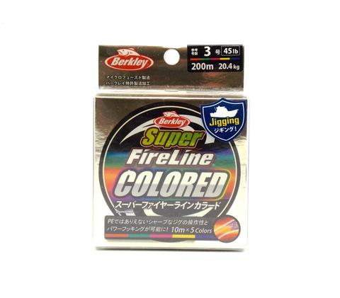 Плетеная леска Berkley Super Fireline Colored Разноцветная 200 м. 3 РЕ 20,4 кг., 10м х 5colors (Японский рынок) (1324498)