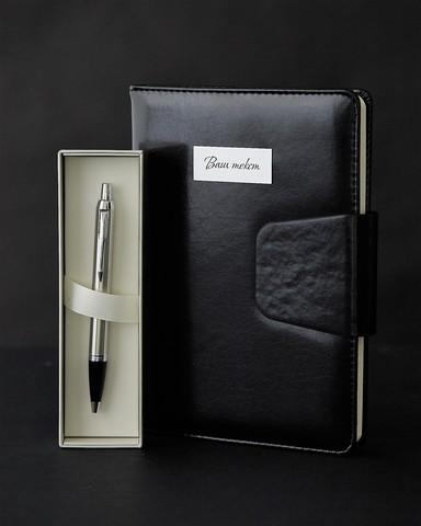 Набор с гравировкой: Ежедневник и Шариковая ручка Parker IM Stainless Steel CT123