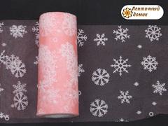 Фатин со снежинками персиковый ширина 15 см