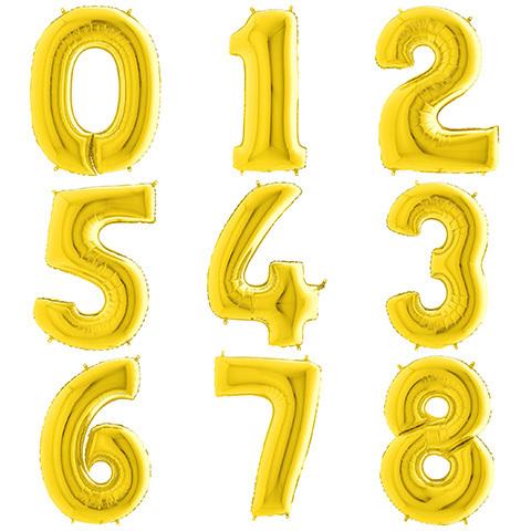Летающие Цифры с Гелием Золотые