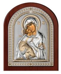 Серебряная икона Божией Матери Владимирской (эксклюзивная рамка)