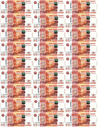 Печать на сахарной бумаге, Набор Купюр 5000р 3
