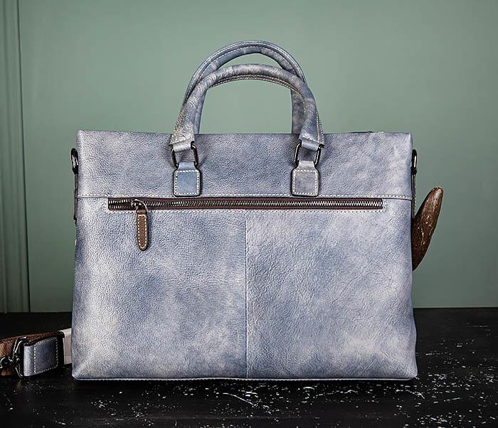 BAG497-3 Мужской портфель синего цвета из натуральной кожи фото 07