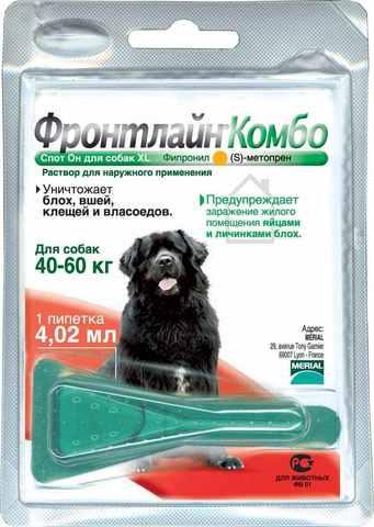 Фронтлайн Комбо капли для собак XL от 40 до 60кг 4,02мл