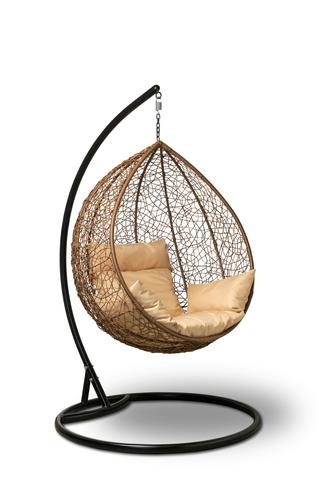 Подвесное кресло-кокон SEVILLA горячий шоколад + каркас + бежевая подушка