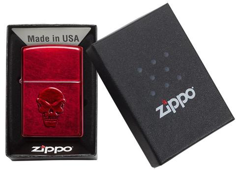 Зажигалка Zippo Doom с покрытием Candy Apple Red, латунь/сталь, красная, глянцевая, 36x12x56 мм123