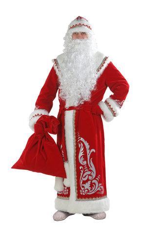 Костюм Дед Мороз с аппликацией красный