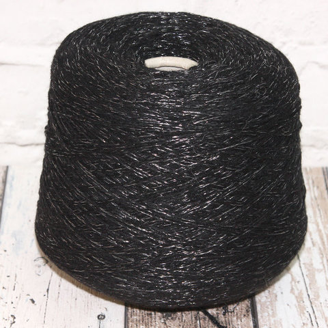 Меринос с люрексом GI TI BI / DINAMO черный с серебром