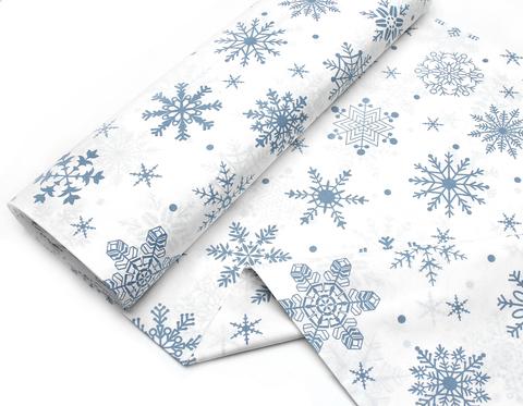 Снежинки пыльно-голубые на белом,240 см