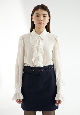 Блуза с рюшей из 100% шёлка