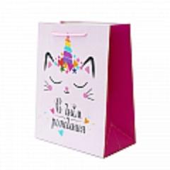 Пакет подарочный, С Днем Рождения. Кошечка, 18*10*23 см, 1 шт.