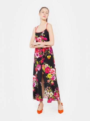 Фото платье длины макси на узких бретелях в цветочек - Платье З001-389 (1)