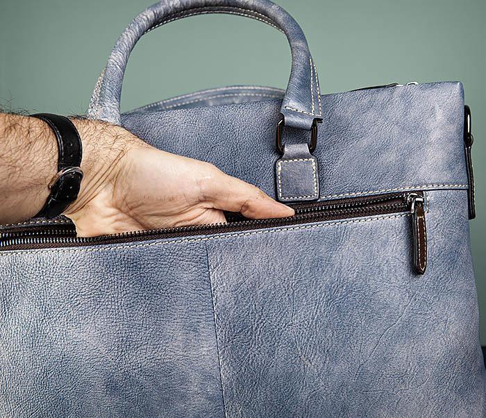 BAG497-3 Мужской портфель синего цвета из натуральной кожи фото 08