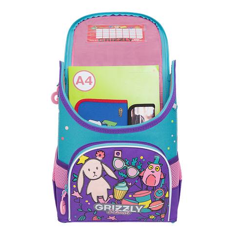 Рюкзак школьный совушка, фиолетовый GRIZZLY (ТРК ГагаринПарк)