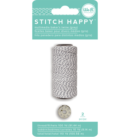 Катушка нити и шпулька для шитья We R Stitch Happy Twine -2шт- grey