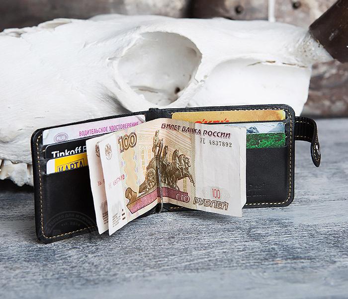 WB115-1 Кошелек из гладкой кожи на застежке с зажимом для денег. «Boroda Design» фото 10