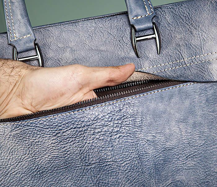 BAG497-3 Мужской портфель синего цвета из натуральной кожи фото 09