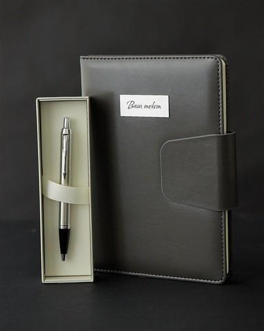 Набор с гравировкой: Ежедневник и Шариковая ручка Parker IM Stainless Steel CT